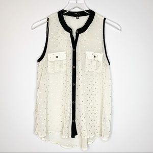 MONTEAU Sheer Gold Polka Dot Sleeveless Top Large